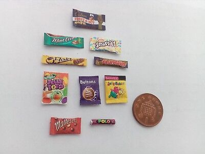 1/12 Scale Assorted Sweet Packets Set Of 10 For Dollhouse Miniatures ** • 1.50£