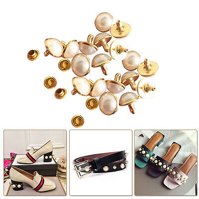 Ivory Pearls Rivets Studs Brass For DIY Craft Leather Bag Jeans Shoes Decoration • 2.99£
