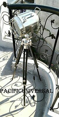 AU145 • Buy Nautical Hollywood Chrome Floor Lamp ~With Tripod ~Maritime Searching Light.