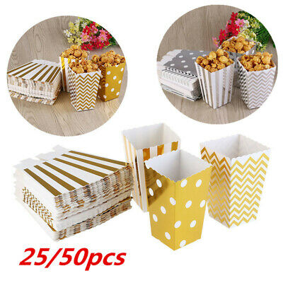 50x Popcorn Boxes Movie Pack Hollywood Birthday Party Home Cinema Paper Bags Fun • 1.69£
