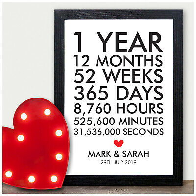 1st 10th 25th 30th 40th 50th Wedding Anniversary Gifts PERSONALISED Presents • 4.95£