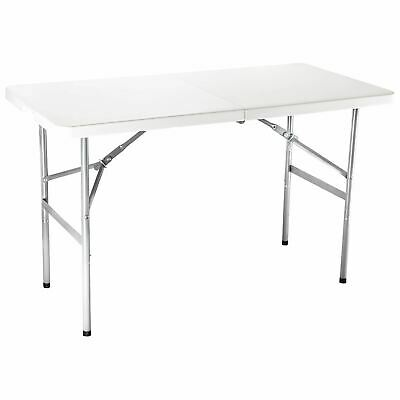 6FT Portable Folding White Trestle Table Heavy Duty Plastic Camping Garden Party • 37.79£