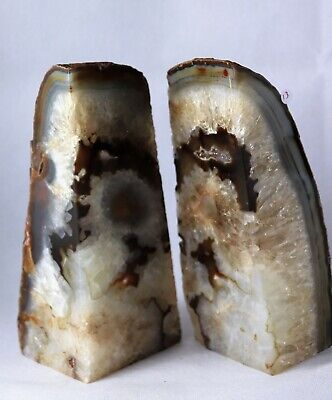 AB13) Large Brown Agate Quartz Crystal Bookends -House Office Gift Decor 2.92KG • 49£