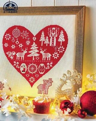 Red Heart Christmas Finished Cross Stitch Xmas Gift Lights Tree Reindeer Boots  • 33.76£
