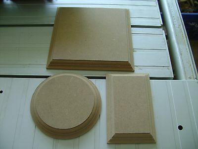 WOODEN PLAQUES Circles / Squares / Rectangles 18mm MDF Blank Signs Plinths Plain • 3.95£