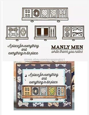 Masculine Clear Stamps Father Son Dad Men Him Drawer Watch Cuff Tie Belt Glasses • 6.72£