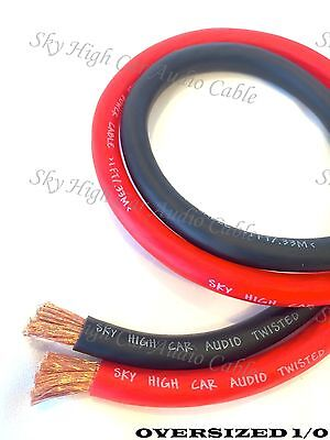 $24.95 • Buy 10 Ft 1/0 Gauge AWG 5' BLACK & 5' RED Oversized Power Ground Wire Sky High
