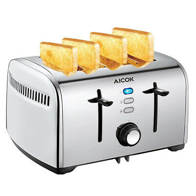 AU34.95 • Buy New 4 Slice Stainless Steel Toaster With Extra Wide Slots Crumb Tray Reheat