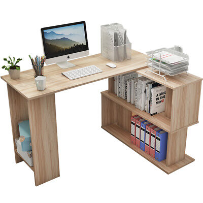 AU149 • Buy 1.2M L Shaped Office Corner Computer PC Desk Study Writing Table Bookcase Shelf