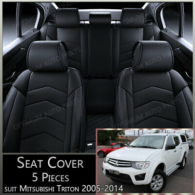 AU140.99 • Buy Black 5 Seats PU Leather Seat Covers To Suit Mitsubishi Triton MN ML 2005-2014