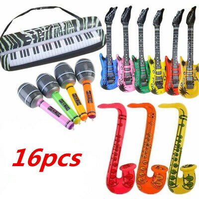 16pcs Inflatable Music Instruments Guitar Saxophone Microphone Blow Up Party Fun • 8.99£