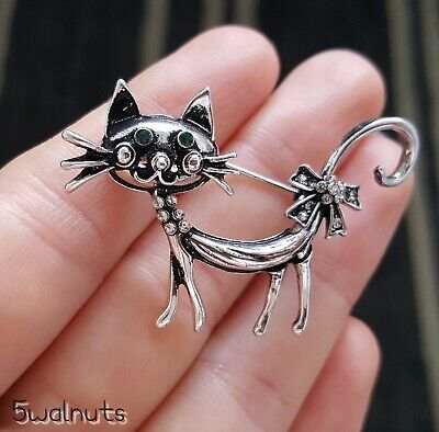 Antique Style Green Eyes Cat Brooch Vintage Silver Diamante Broach Pin Gift UK • 4.79£