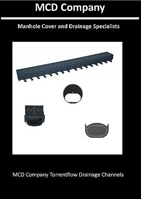 £24 • Buy Shallow Drainage Channel 1m With Black Plastic Grates - MCD Company Torrent Flow