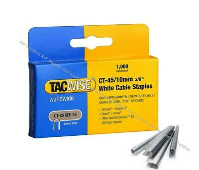 £5.95 • Buy Tacwise Ct45 10mm 3/8 Inch White Cable Tacker Staples (1000 Per Pack)