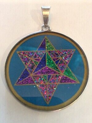 $62 #MerKaBa 3D Star Necklace #Turquoise Gemstone 1.5  Pendant Sterling Silver • 39.80£