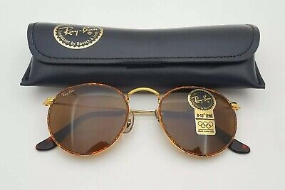2e7aea8aa0 Vintage B L Ray Ban Bausch   Lomb B15 Brown Tortoise Rounds W2186 W Case •
