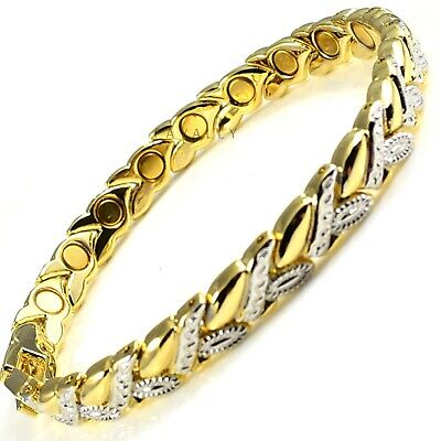 Womens MAGNETIC BRACELET Carpal Tunnel Arthritis Pain Ladies Leaf Gold Silver • 9.98£