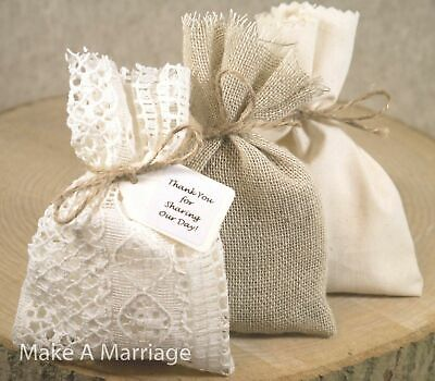 Hessian & Ivory Lace Wedding Favour Bags Vintage Shabby Chic Style Personalised • 7.50£
