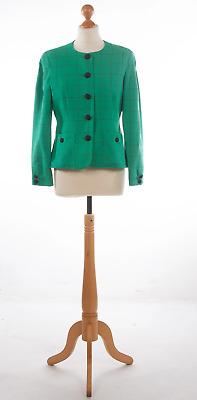 Caroline Charles Jacket Emerald Green Check Wool UK 12 • 60£