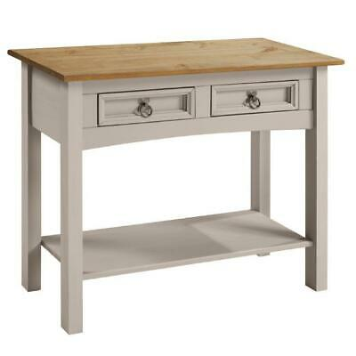 Corona Console Table Grey Wax 2 Drawer Solid Pine Hall By Mercers Furniture® • 49.99£