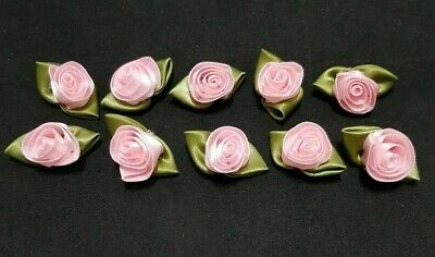 Pack Of 10 - BABY PINK - 3cm Satin Ribbon Rose Rosebud Craft Flowers With Leaves • 2.85£