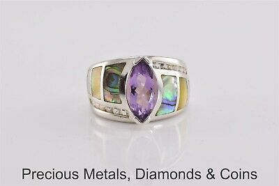 $ CDN57.47 • Buy Sterling Silver Purple Amethyst Solitaire Abalone White Topaz Ring 925 Sz: 7