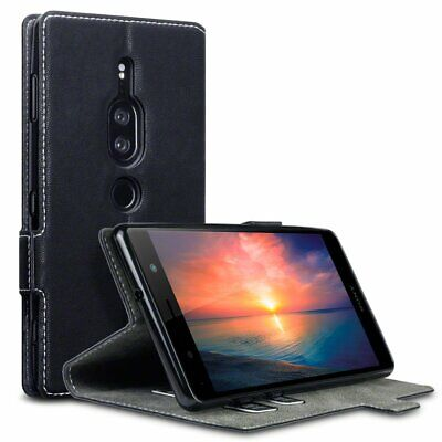 AU10.68 • Buy PU Leather Wallet Low Profile Case Cover Black For Sony Xperia XZ2 Premium Phone