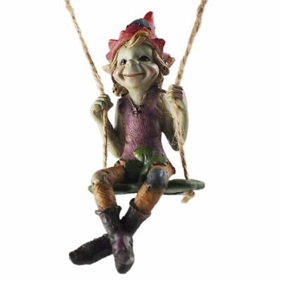£14.95 • Buy Pixie Swinging On A Clover Hanging Garden Ornament Figurine Decorations