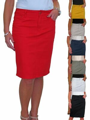 £15.99 • Buy Womens Jeans Style Stretch Cotton Knee Length Pencil Skirt Summer Casual 10-22