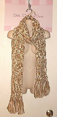 $7.44 • Buy BRAID Extra Long Scarf Cable Lt. Brown To Winter White Handmade Knit  * VG