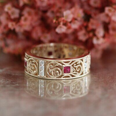 1ct Princess Cut Pink Ruby Diamond Accent Wedding Band Ring 14k Yellow Gold Over • 89.99£
