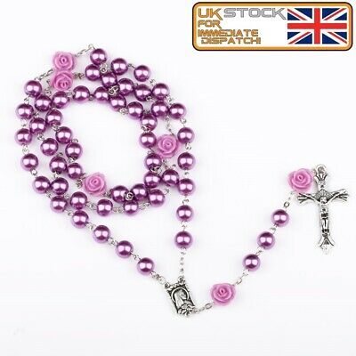 £3.99 • Buy FIRST HOLY COMMUNION ROSARY BEADS For Girls Boy Purple Faux Pearl Rosaries UK