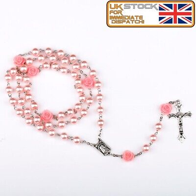 £3.99 • Buy FIRST HOLY COMMUNION ROSARY BEADS For Girls Boy Pink Faux Pearl Rosaries UK