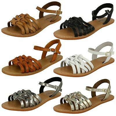 Ladies Leather Collection Flat Ankle Strap 'Sandals' • 9.99£