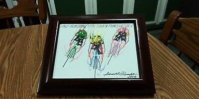Lance Armstrong FithTour De France Victory Bicyclist Oil Painting Artist Signed  • 36.17£
