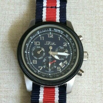 Daniel Steiger Men's Silver Watch Black Chronograph Dial Red, White & Blue Band! • 121.50$