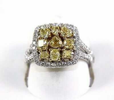 Fancy Yellow Canary Diamond Square Cluster Bridge Ring 14K White Gold 1.86Ct • 1,631.02£