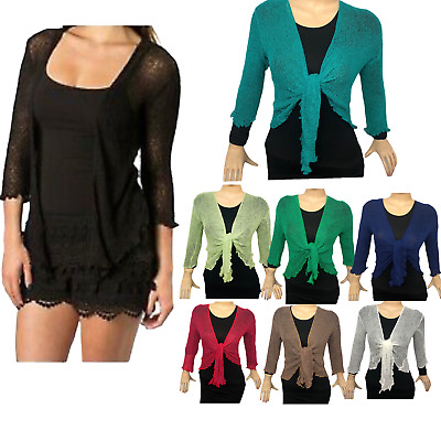 Womens Tie Up Open Front Shrug Ladies Knitted Cropped Bolero Short Cardigan Top • 8.99£