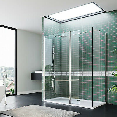 Shower Enclosure And Tray Walk In Cubicle 8mm Nano Glass & Flipper Panel Glass • 201.99£
