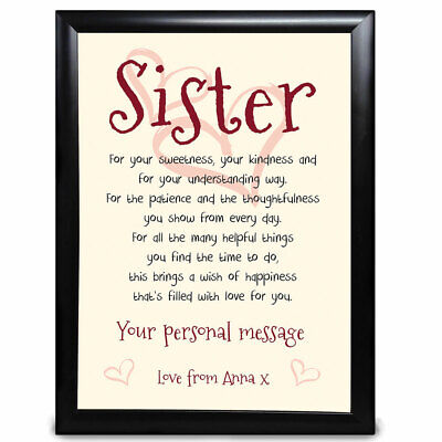 £6.29 • Buy Personalised Touching Sister Poem Gifts Print Birthday Christmas Thank You Best