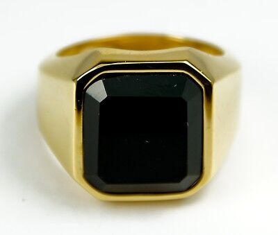 £14.99 • Buy Men's Gold Colour Stainless Steel Black Crystal Signet Pinky Ring Jewellery