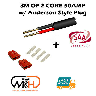 AU22.95 • Buy 3m 50 Amp Anderson Plug Extension Lead 6mm Twin Core Automotive Cable Wire RED