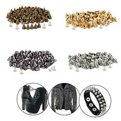 8mm Brass Cone Spike Punk Studs Rivet With Pins For Leather Craft Shoe DIY 50pcs • 5.49£
