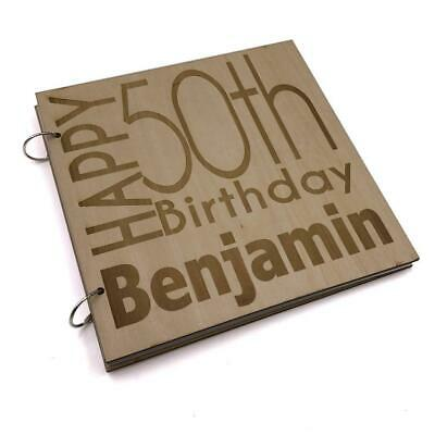 Personalised 50th Birthday Engraved Large Wooden Scrapbook Photo Album LWOD-17 • 14.99£