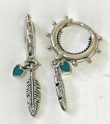 Pandora Spiritual Feathers Drop Earrings 297205EN168 S925 ALE Genuine • 20.99£
