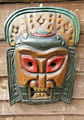 Fair Trade Hand Carved Made Wooden Tribal Beard Man Ethnic Wall Art Plaque Mask • 18.99£