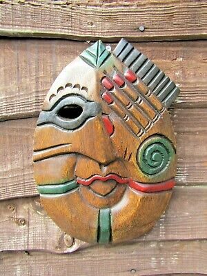 £18.99 • Buy Fair Trade Hand Carved Made Wooden Tribal Woman Girl Ethnic Wall Art Plaque Mask