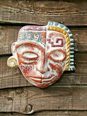 £19.99 • Buy Fair Trade Hand Carved Made Ceramic Mayan Life And Death Wall Art Hanging Mask