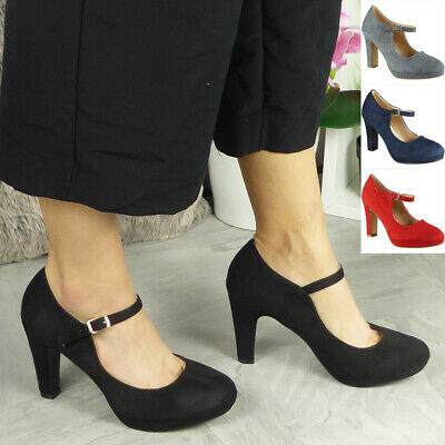 £15.99 • Buy Court Party Shoes High Heel Ladies Womens Mary Jane Platform Suede Buckle Size