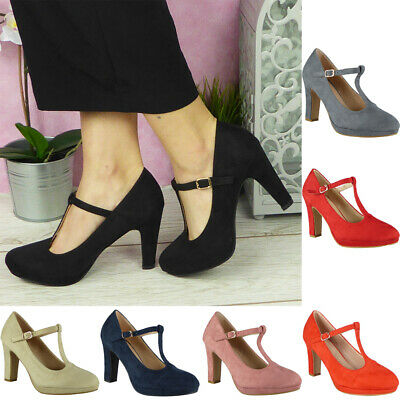Womens Court Shoes Ladies Platform T Bar Buckle High Heel Ankle Strap Boots Size • 9.99£